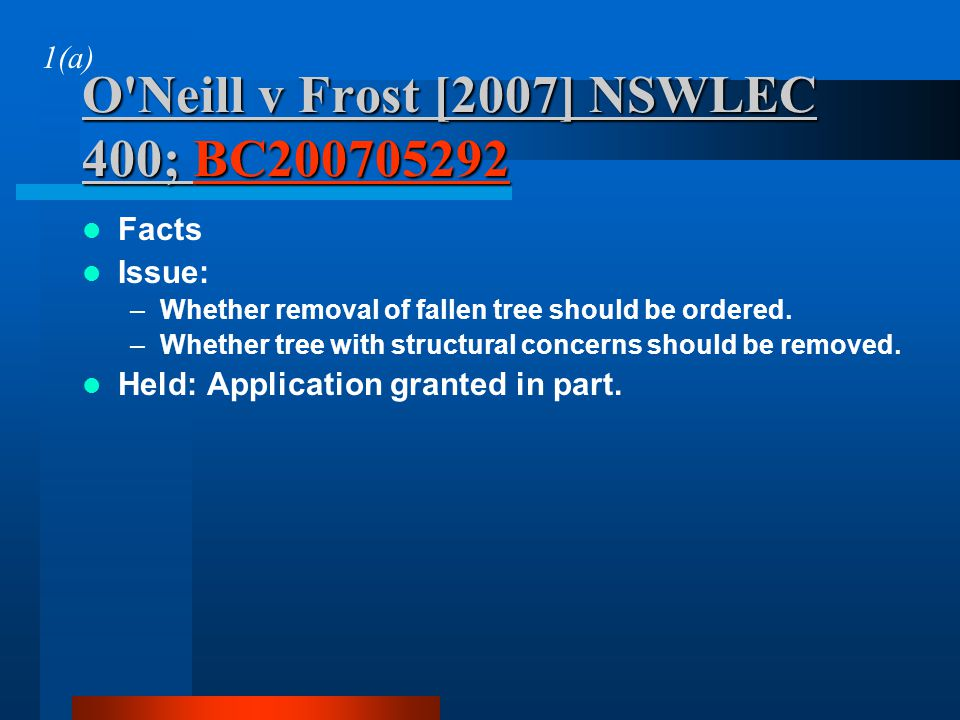 O Neill v Frost [2007] NSWLEC 400; BC200705292